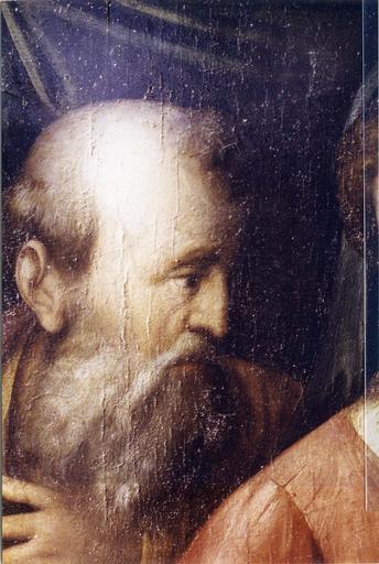Tableau : Le Mariage mystique de sainte Catherine, panneau peint attribué à Raphaël, début du 16e siècle, détail du visage de Joseph