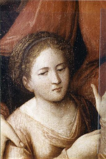 Tableau : Le Mariage mystique de sainte Catherine, panneau peint attribué à Raphaël, début du 16e siècle, détail du visage de sainte Catherine