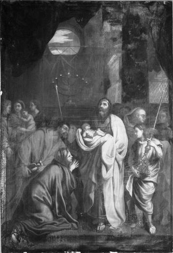 Tableau : La Présentation de Jésus au temple, huile sur toile, copie de Lebrun (Detroit), 17e siècle