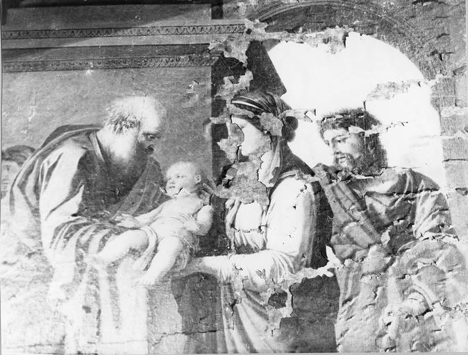 Tableau : La Présentation au temple, huile sur toile par Laurent de La Hyre, 1648, détail de saint Siméon, le Christ, la Vierge, et saint Joseph