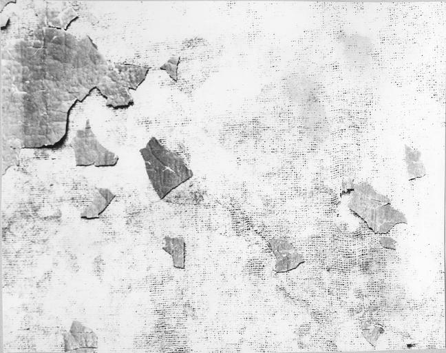 Tableau : La Présentation au temple, huile sur toile par Laurent de La Hyre, 1648, détail de l'usure de la toile
