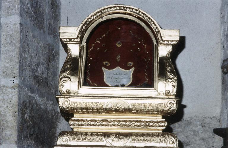 Châsse de saint Célestin, saint Chaste et Tranquilline martyrs, bois doré, 1731
