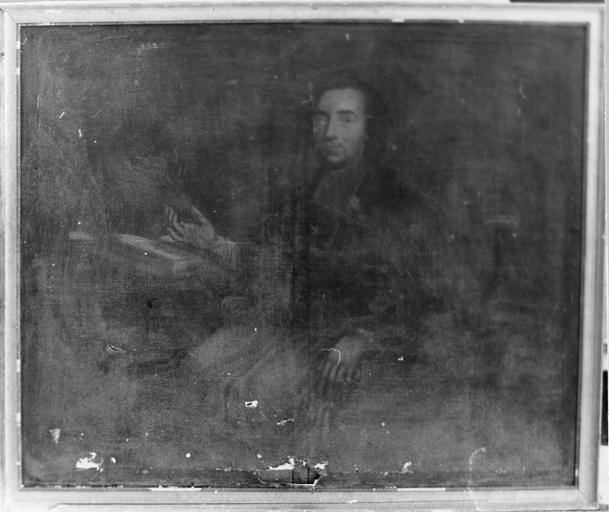 Tableau : Portrait de Monseigneur Tafoureaulx évêque d'Aleth, huile sur toile, 18e siècle, avant restauration