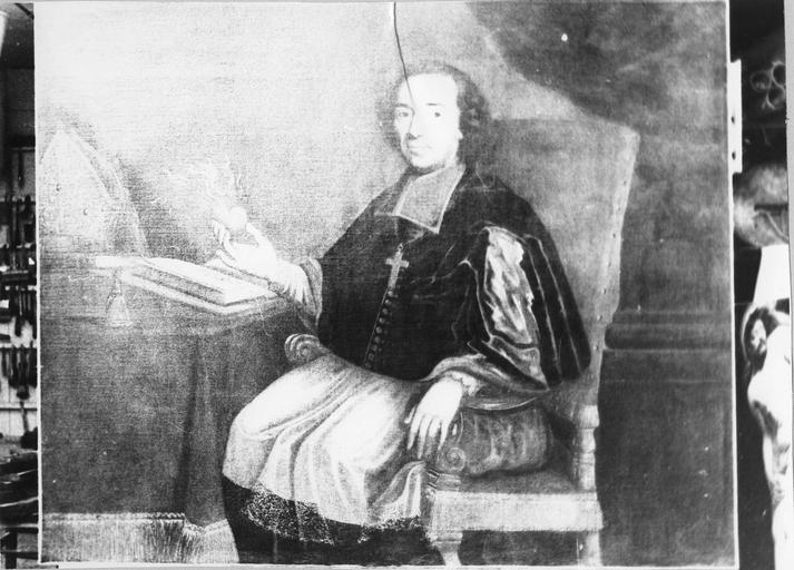 tableau : Portrait de Monseigneur Tafoureaulx évêque d'Aleth, huile sur toile, 18e siècle, après restauration