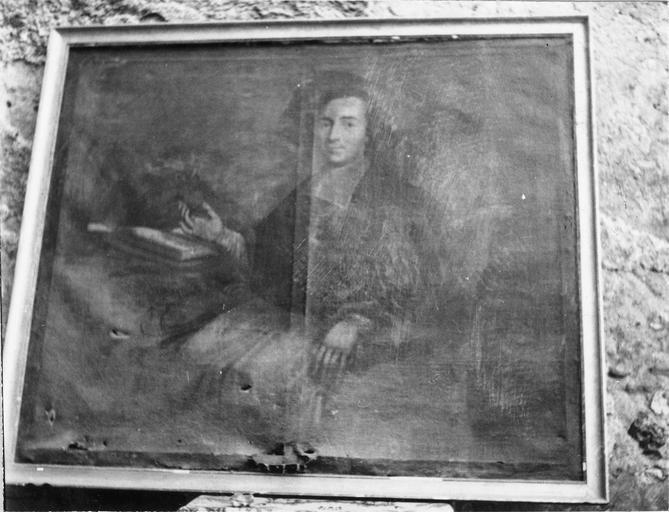 Tableau : Portrait de Monseigneur Tafoureaulx évêque d'Aleth, huile sur toile et cadre doré, 18e siècle, avant restauration