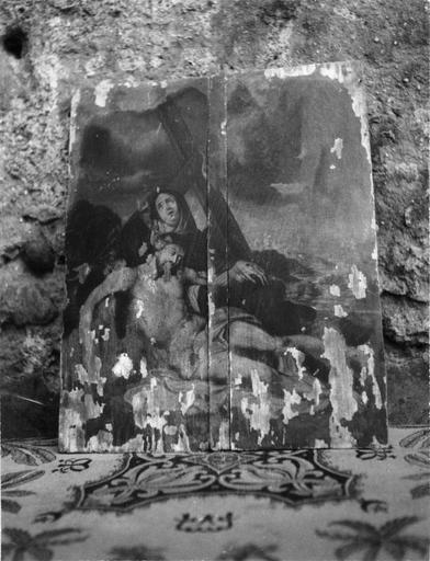 Tableau : La Déploration, panneau peint, 17e siècle
