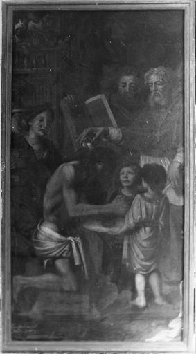 Tableau : Le Baptême de Clovis, huile sur toile, par Desgardes, 1679, avant restauration