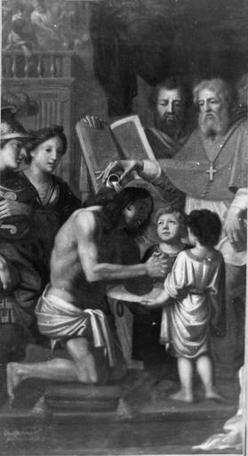 Tableau : Le Baptême de Clovis, huile sur toile, par Desgardes, 1679, après restauration