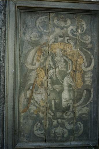Lambris de revêtement, bois peint et doré, par Jacques chemin, entre 1638 et 1646, détail du dieu Poséidon sur son char