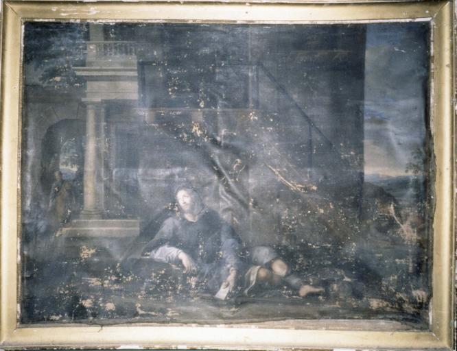 Tableau : Saint Alexis allongé, huile sur toile, 18e siècle