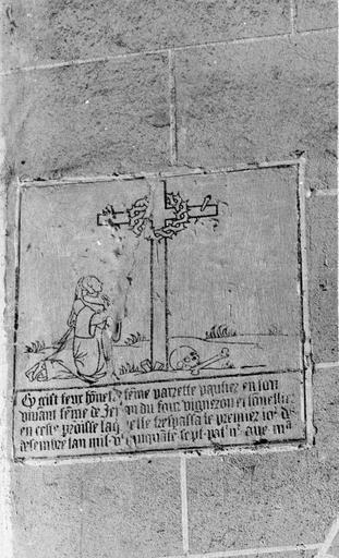 Plaque funéraire avec épitaphe de Parette Pautier, pierre gravée