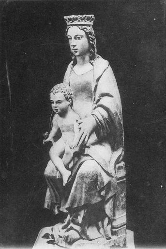 Statue : Vierge à l'Enfant, bois polychrome, 16e siècle, vue par la droite