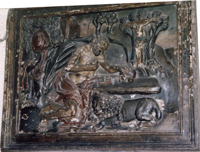 Panneau en bois sculpté polychrome, début du 17e siècle, scène représentant saint Jerôme