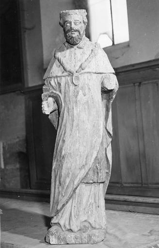 Statue : saint Louis sous les traits d'Henri IV, bois, 17e siècle