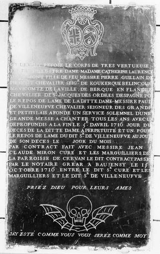 Plaque funéraire avec épitaphe de Catherine Laurence de Pirmont, marbre noir gravé, 1716