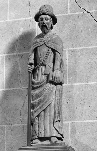 Statue : saint Jacques, bois peint, 16e siècle