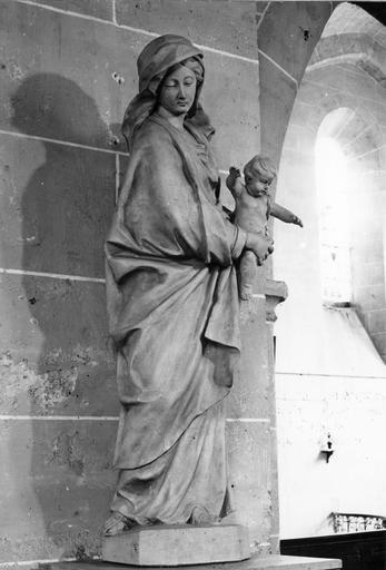 Statue : Vierge à l'Enfant, terre cuite, 18e siècle, vue par la gauche