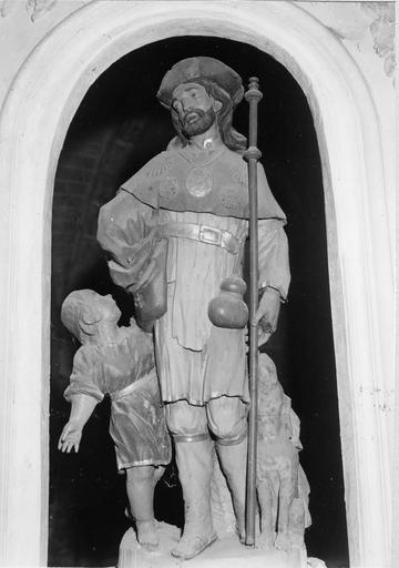 Groupe sculpté : saint Roch, l'enfant et la chien, bois polychrome, 17e siècle