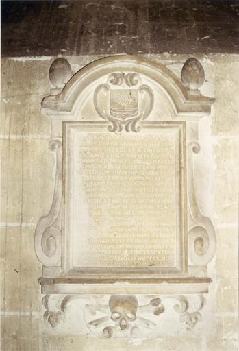 plaque commémorative de J. Challopin, pierre gravée, 1630