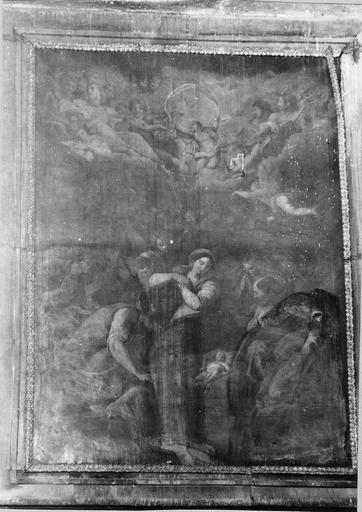 Tableau : La Nativité, huile sur toile, 17e siècle, copie d'après un tableau de Carrache au musée des Beaux-Arts d' Orléans