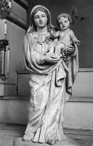 Statue : Vierge à l'Enfant, bois polychrome, 18e siècle