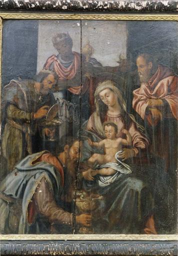 Tableau : L' Adoration des mages, panneau peint sur bois, début 17e siècle