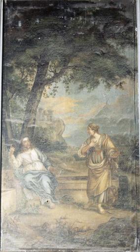 Tableau du choeur dans une boiserie de part et d'autre d'un retable : Le Christ et la Samaritaine, huile sur toile, 17e siècle