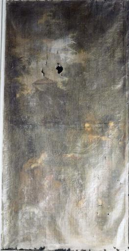Tableau du choeur dans une boiserie de part et d'autre d'un retable : Le Christ et la Cananéenne, huile sur toile, 17e siècle