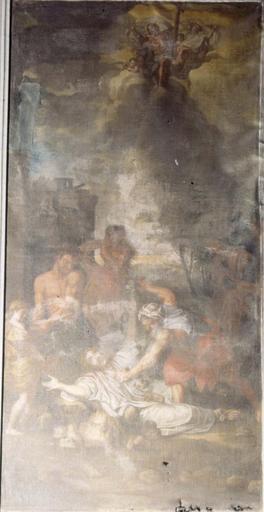 Tableau du choeur dans une boiserie de part et d'autre d'un retable : La Lapidation de saint Etienne, d'après Le Brun, huile sur toile, 17e siècle