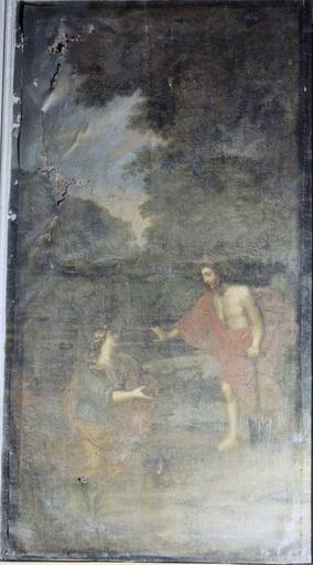 Tableau du choeur dans une boiserie de part et d'autre d'un retable : Noli me tangere, huile sur toile, 17e siècle