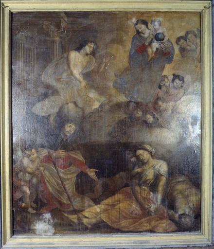 tableau ex-voto : La Vierge Marie et l'Enfant Jésus, saint Sébastien, saint Roch, huile sur toile