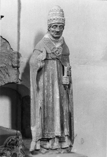 Statue : saint Pierre en pape, pierre, 14e siècle