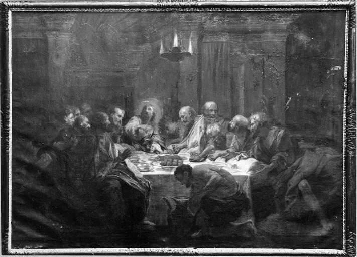 Tableau : La Cène, toile, 17e siècle, peut être une copie de Jouvenet