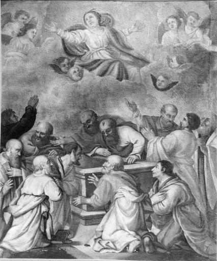 Tableau : L' Assomption de la Vierge, huile sur toile par Jean Senelle, 17e siècle