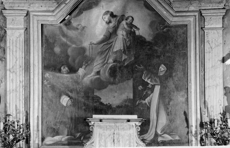 Tableau : La Vierge à l'Enfant remettant le rosaire à saint Thérèse et saint Dominique, huile sur toile, école française, 17e siècle
