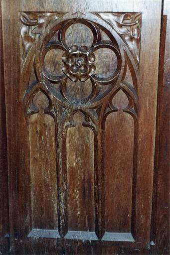 Stalles du choeur, bois de chêne, 15e siècle, détail du motif sculpté