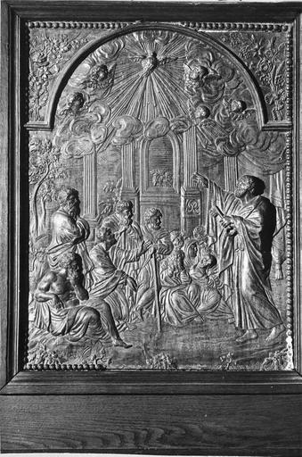 Panneau de la chaire : La Conversion des gentils, bois, 18e siècle
