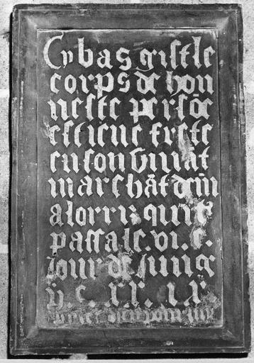 plaque funéraire avec épitaphe d'Etienne Frette, marchand de vin, pierre gravée, 1529