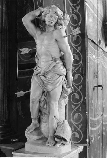 Statue : saint Sébastien, pierre, 17e siècle
