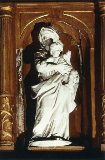 Statue : Vierge à l'Enfant, pierre peinte(?), fin 17e siècle