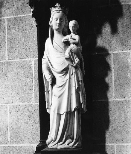 Statue : Vierge à l'Enfant, albâtre, 14e siècle