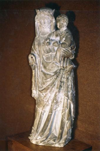 Statue : Vierge couronnée à l'Enfant, pierre, 14e siècle, vue de la face