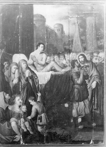 Tableau : La Guérison du paralytique, panneau peint, 17e siècle, avant restauration