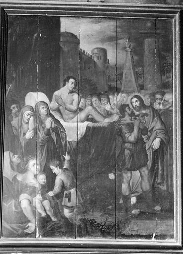 Tableau : La Guérison du paralytique, panneau peint, 17e siècle