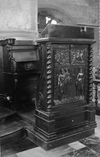 Stalle, prie-Dieu, bois sculpté, 16e siècle, décoré de scènes sculptées