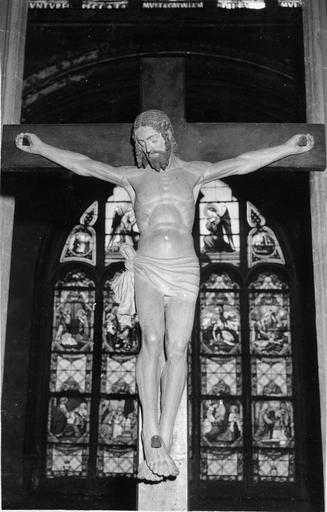 Crucifix, bois badigeonné, 17e siècle