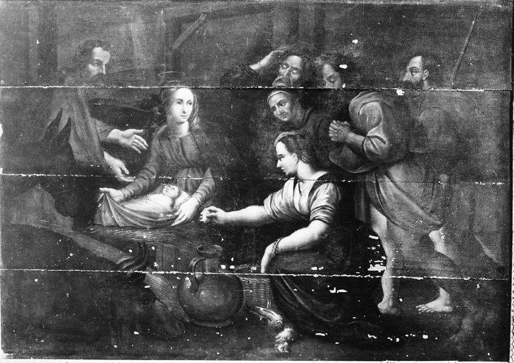 Tableau : L' Adoration des bergers, panneau peint, 17e siècle