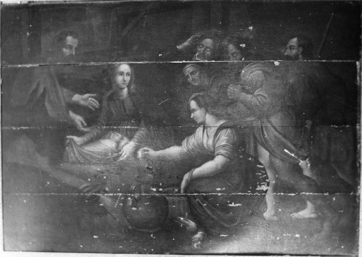 Tableau : L' Adoration des bergers, panneau peint, 17e siècle, avant restauration
