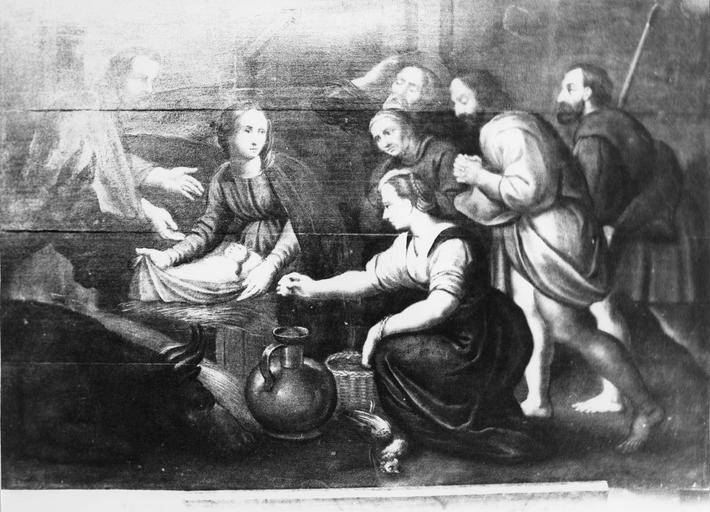 Tableau : L' Adoration des bergers, panneau peint, 17e siècle, après restauration