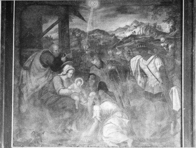 Tableau : L' Adoration des mages, huile sur toile, 16e siècle